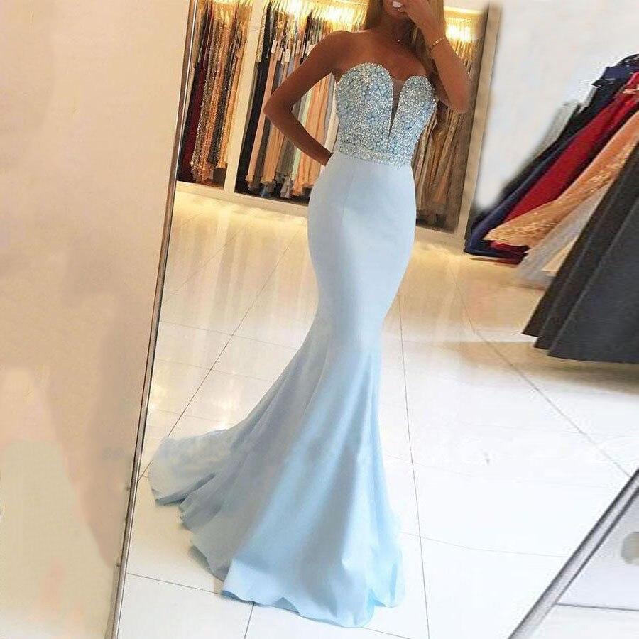 Sweetheart Long Prom Dresses Mermaid Sleeveless Beading Sweep Train Evening Formal Party Dress with Belt Vestido De Fiesta
