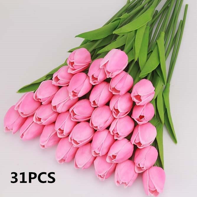 Zonaflor Tulip Artificial Flowers Accessories 31pcs Pu Real Touch