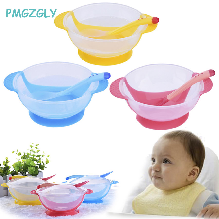 Solid Feeding Baby Dishes Feeding Children's Tableware Kids Food Bowl Temperature Sensing Spoon+Dish+Cover Dishes Dinnerware Set