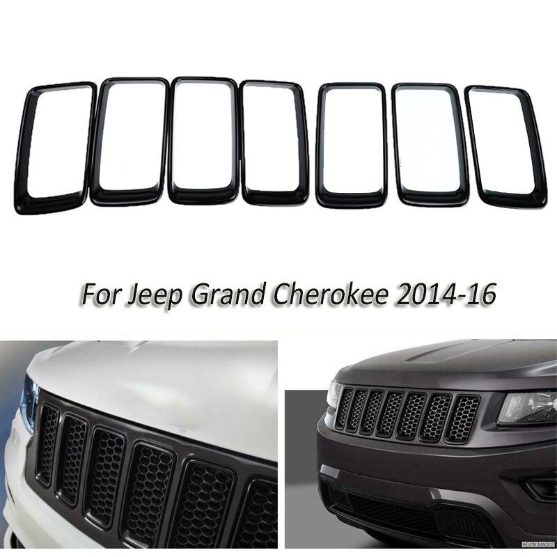 7 шт./компл. ABS передняя вставка гоночный автомобиль решетки черный вентиляционное отверстие отделка кольцо крышки для Jeep Grand Cherokee 2014 вверх