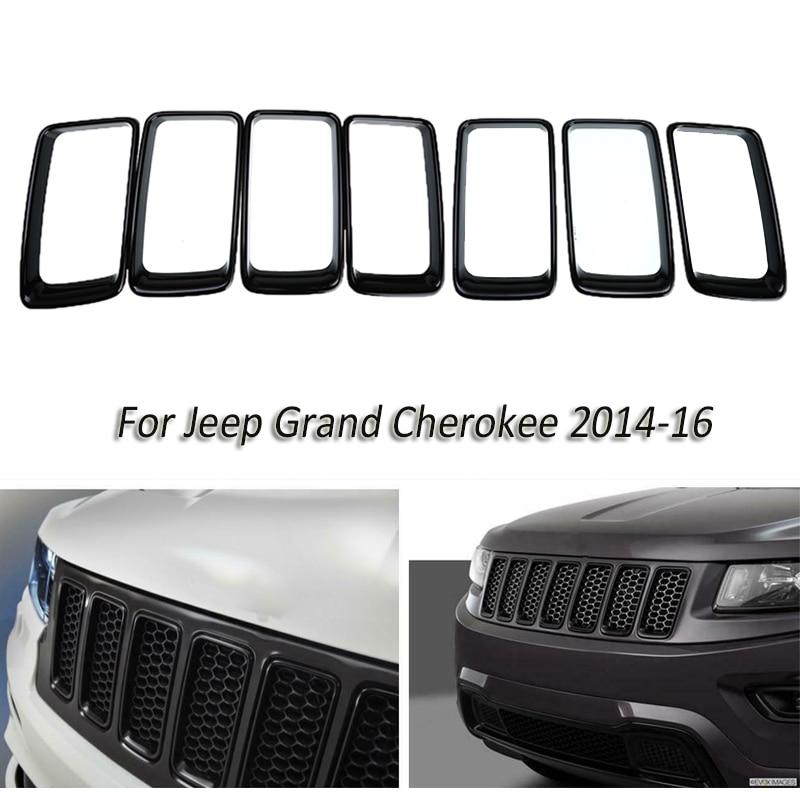 7 pièces/ensemble ABS avant insérer Grilles de course de voiture noir trou de ventilation garniture anneau couverture pour Jeep Grand Cherokee 2014 Up