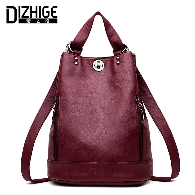 DIZHIGE Brand High Quality PU Leather Backpack Women Double Zipper School Bags Teenager Girls Soft Big Capacity Women Backpack high quality pu leather women backpack fashion solid school bags for teenager girls large capacity casual women black backpack l