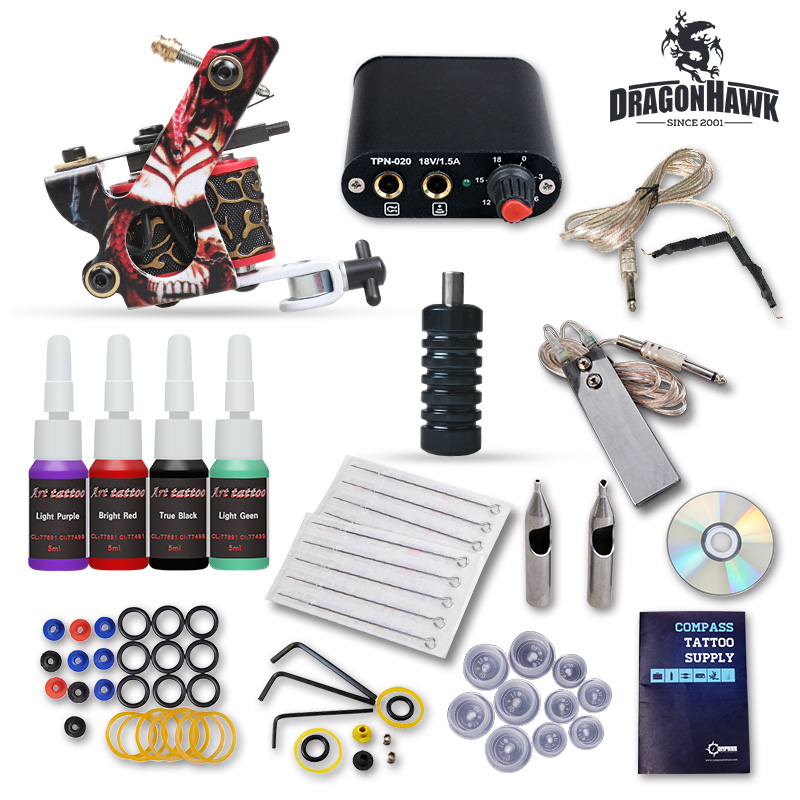 Complete Beginner Tattoo Kit 1 Machine Guns 4 Inks Needles Tattoo Power Supply D1025GD compatible toner powder xerox 6121 printer toner refill powder for xerox phaser 6121 printer bulk toner powder for xerox c6121