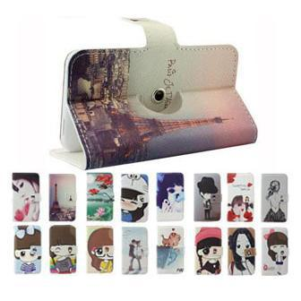 Fly IQ432 Case, 360 Rotation Cartoon Painted Flip Leather Phone Cases for Fly IQ432 Era Nano1 Free Shipping
