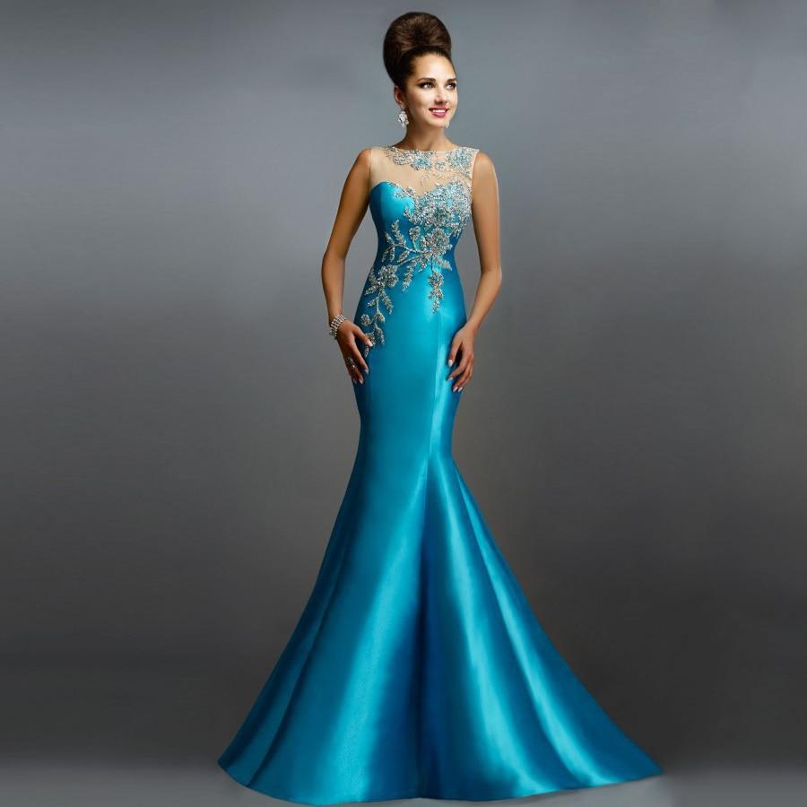 2017 Azul Turquesa Vestidos De Noche Sexy Sirena Sheer