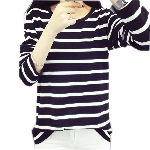 65edba2fc0 Black   white stripes Autumn Winter Sweater Striped Long Sleeve Large Size  Knitted Sweater Pullovers long