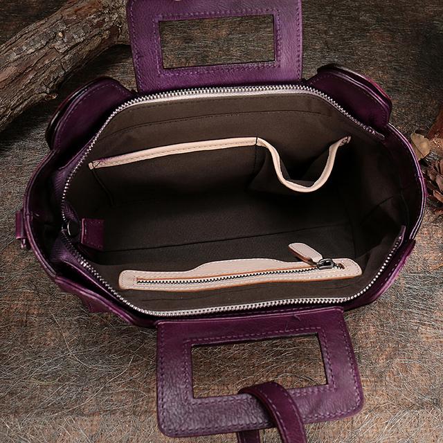 Original Genuine Leather Bag Women Handbag 2017 Vintage Female Shoulder Bag Handmade Tote Cow Leather Design Women Messenger Bag