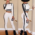Fashion Long Sleeve Bodycon Playsuit Rompers Women Jumpsuit Two pieces Outfits Sexy Bandage Overalls Long Pants White Jumpsuits