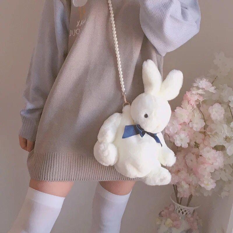 Kawai Girl Bunny Rabbit Bag Lolita Silk Bowknot Soft Plush Toy Doll Single Shoulder Portable Pearl Chain Bag Christmas Gift