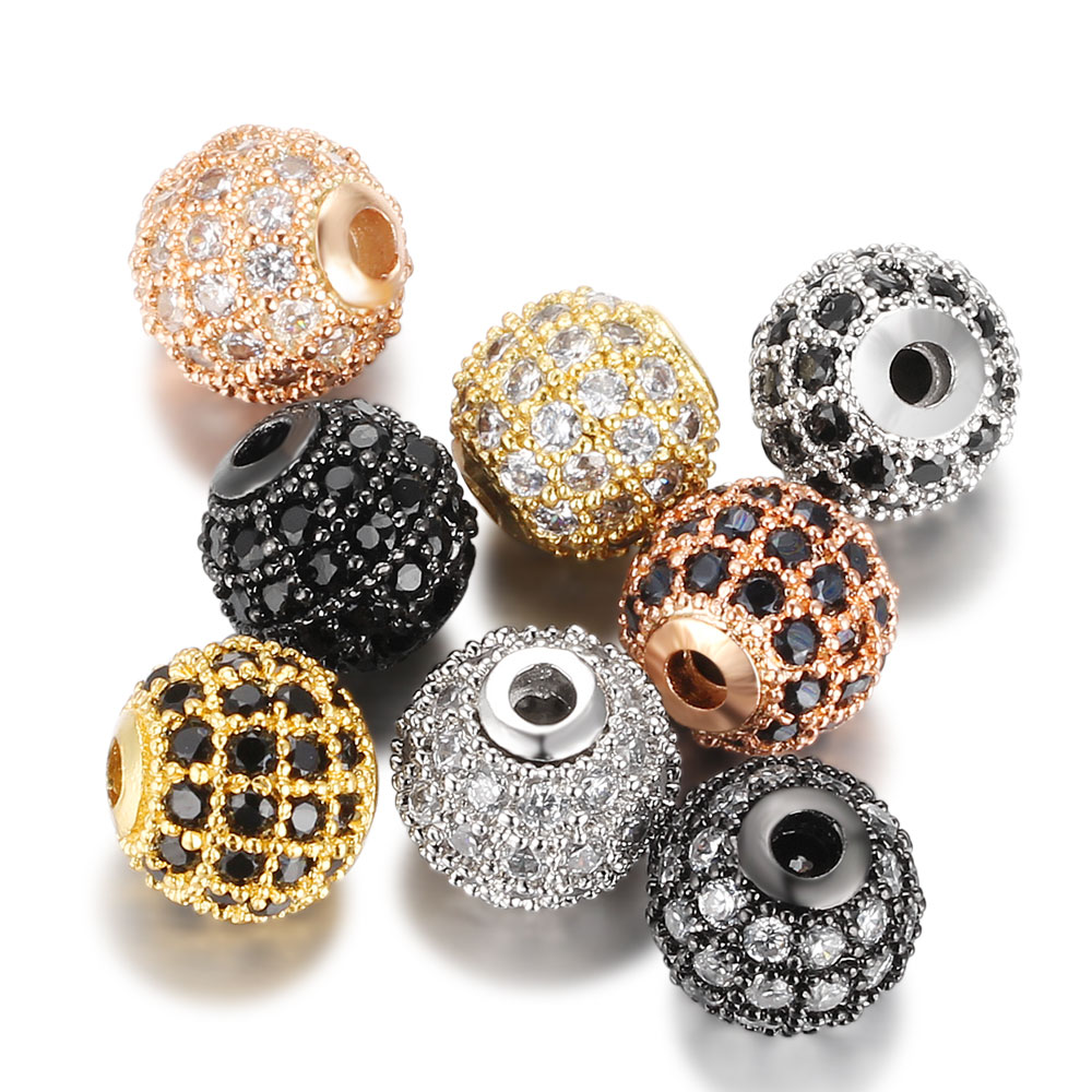 10mm Best Quality Brass Cubic Zirconia Round Pave Beads Loose Spacer Cz Bead Ball For Diy Jewelry Making Findings Accessories Last Style Jewelry & Accessories