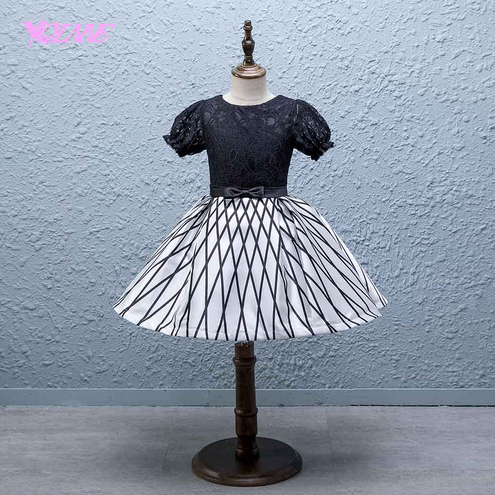 YQLNNE Lace Ball Gown   Flower     Girl     Dresses   Short Sleeve Floor Length Communion   Dress   Vestido Daminha