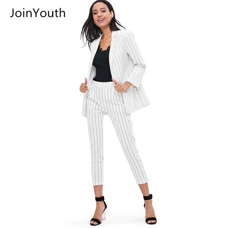 2ab97c308 Blazer Fashion Joinyouth Arbeit Frauen Anzüge 2 Weiß Stück Gestreiften  Anzug 2018 Hosen Pant Jackeamp  Büro Dame Feminino ...