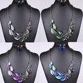 2014 la nueva joyería de la manera exagerada en una cola del pavo real pendientes cristalinos del collar set de joyas