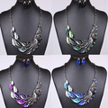 2014 the new exaggerated fashion jewelry in a peacock's tail  crystal necklace earrings set with jewels