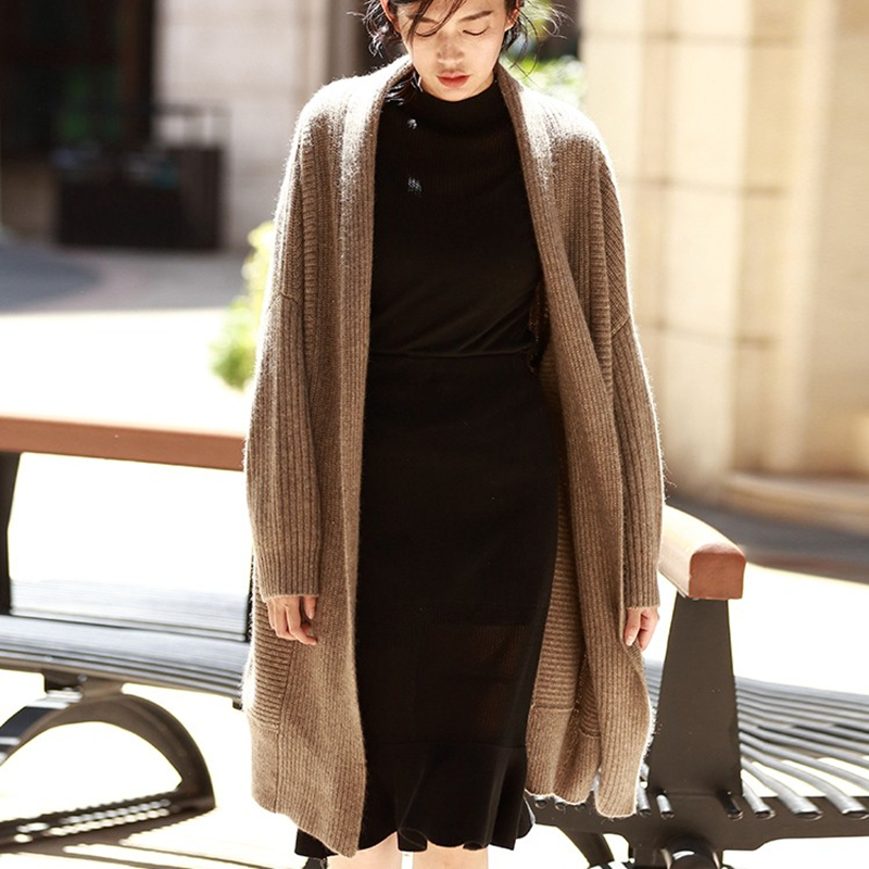 BELIARST Thick Bat Wool Cardigan Women s Autumn and Winter New Long Paragraph Lazy Loose Large