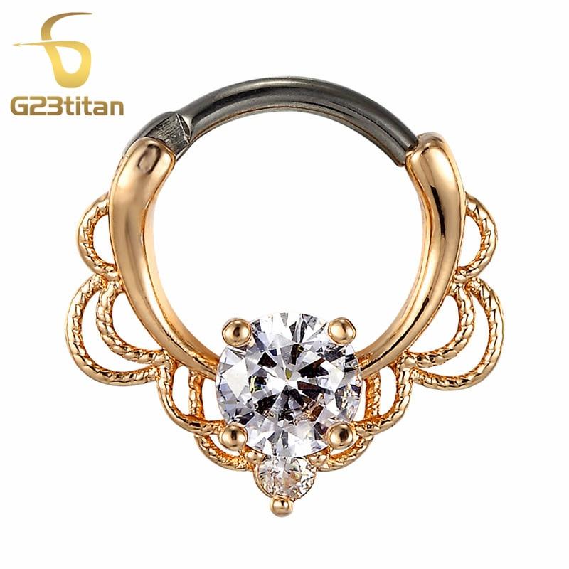 G23titan CZ Prstenje za nos Septum Clicker 16G G23 Titanium Poljski - Modni nakit - Foto 6