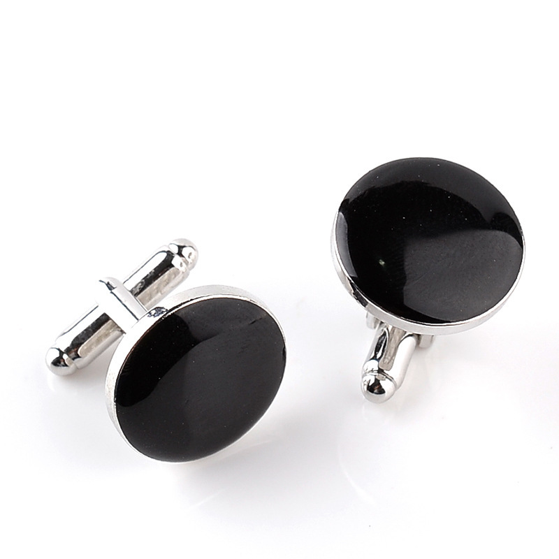 Unisex Fashion Cufflink Rounded 1.8CM Black And White Cuff Links French Style Sleeve Button Daily Blouse Cuff-link