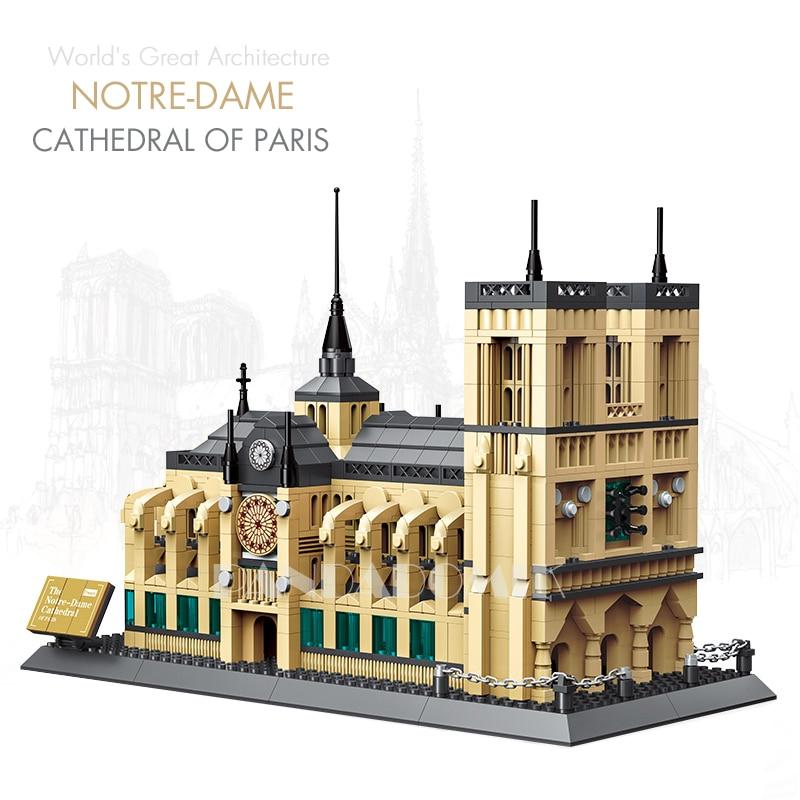 Pandadomik Notre Dame Cathedral Paris 1380pcs Building Toy Bricks Blocks Model <font><b>legoinglys</b></font> <font><b>City</b></font> House Constructor Toys Gift Decor
