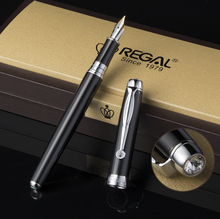 Regal Man-made Diamond Clip Fountain Pen Germany Iridium Medium Nib, Noble Black Business Graduation Gift Pen fountain pen 760 gold black lea clip iridium fountain pen damings pen