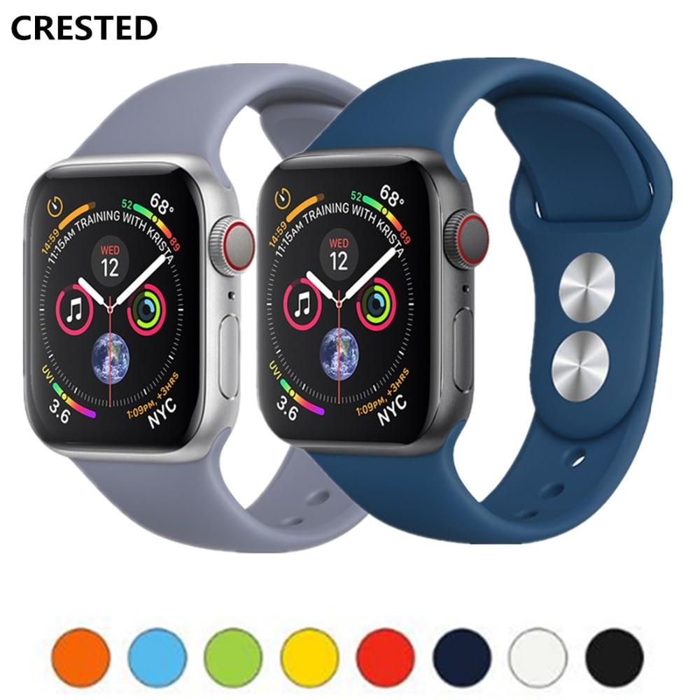 Clever Crested Sport Strap Für Apple Uhr Band 4 42mm/38mm Iwatch Band 4 3 44mm/ 40mm Silikon Handgelenk Armband Armband Gürtel Serie 2/1 SchöN Und Charmant Uhren Uhrenbänder