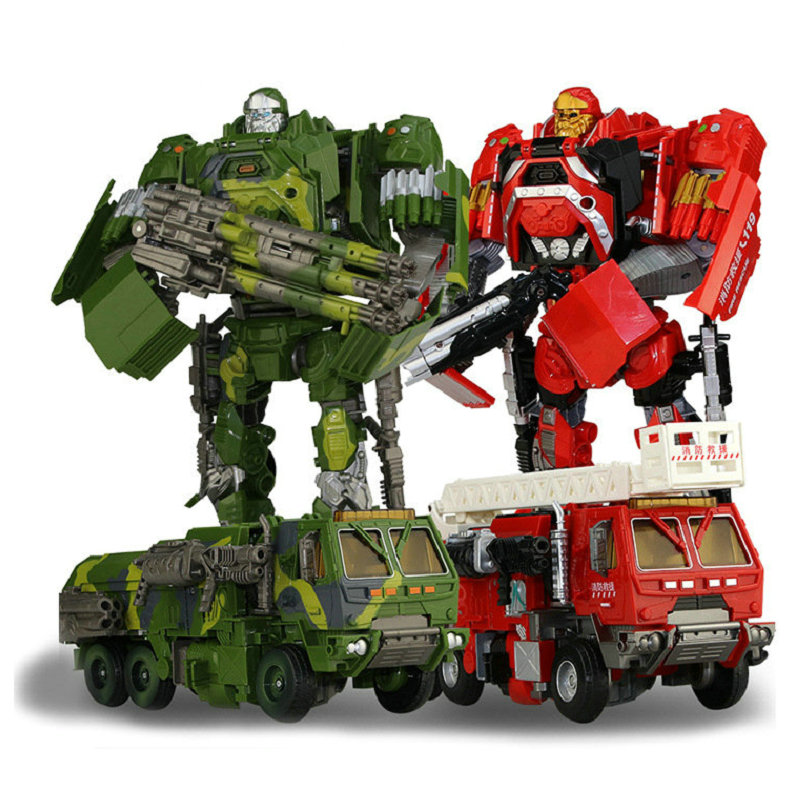 <font><b>2</b></font> Style Fire Truck Car Deformation Robert ABS <font><b>Toy</b></font> Action Figures <font><b>Transformation</b></font> With Weapons <font><b>Toys</b></font> For Kids Children Gifts image