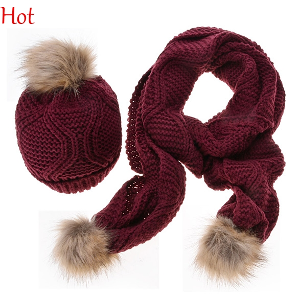 Knitted Winter Hats Scarf Women Hat Scarf Two Piece Sets New Fashion Faux Fur Ski Hat Touca Gorros Bonnet Beanies Hot SV012875