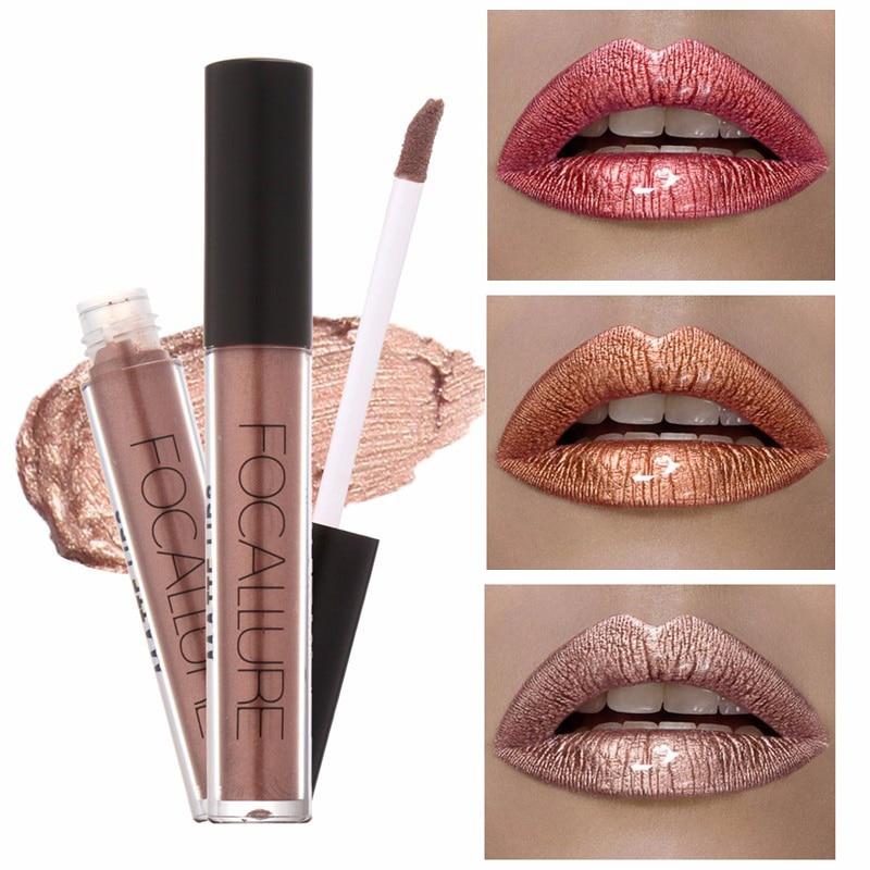 FOCALLURE márka Lip Kit Matte rúzs születésnapi kiadás készlet Vízálló hosszú élettartamú folyékony pigment meztelen arany fémes ajakrúzs