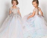 Милые Платья с цветочным узором для девочек на свадьбу, кружевное платье с объемной аппликацией и прозрачной горловиной, платье с жемчужина