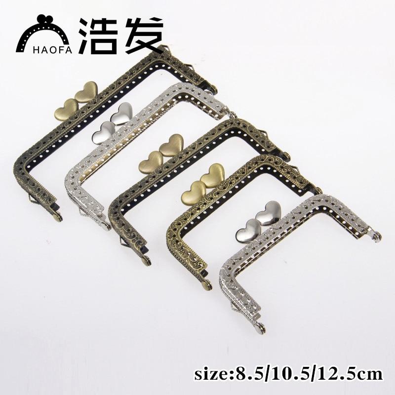 HAOFA 10pcs 8.5cm10.5cm12.5cm Metal Purse Frame Sqare Bronze Heart Kiss Clasp Handle For Clutch Accessories For Bags Metal Frame