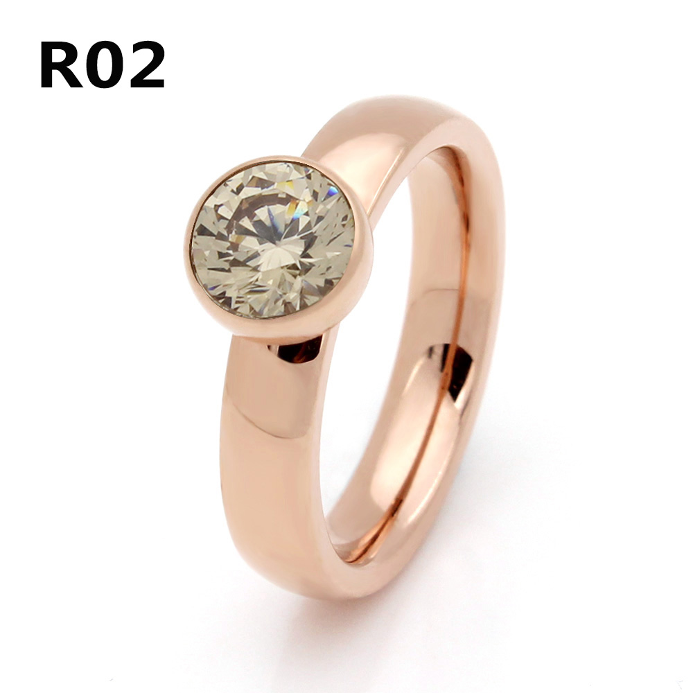 2017 Fashion Exquisite Jewelry Stainless Steel Plated Rose Gold Big Crystal Ring For Wedding Promotion Cant Move R002