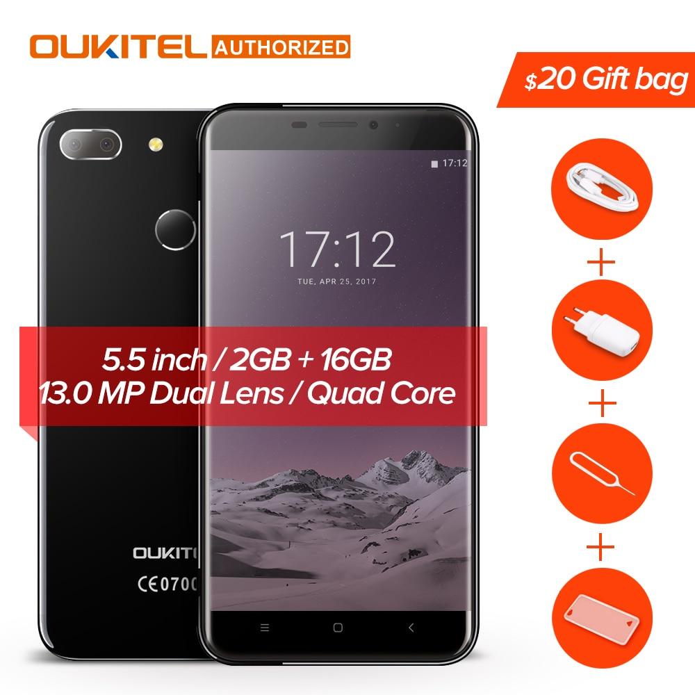 U20 Oukitel Plus 4G telefone Móvel Android 7.0 5.5 polegadas IPS FHD MTK6737T Quad Core 13MP Dual Lens Câmera Traseira 2 GB + 16 GB smartphones