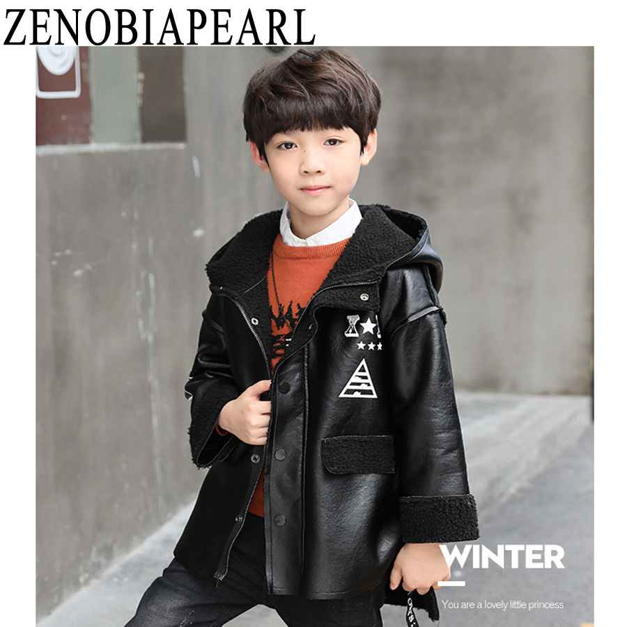 ZENOBIAPEARL Boy Jackets Kids Clothes PU Leather Zipper Children Outwear Waterproof Windproof Snowproof Winter Kids Outwear spring autumn kids jacket pu leather boy jackets clothes children outwear for baby boys jackets 893