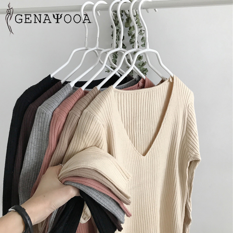 Genayooa Black Knit Sweater Womens V Neck Sweater Women Sweaters And Pullovers Jumpers Ladies Long Sleeve Casual Sweater Women