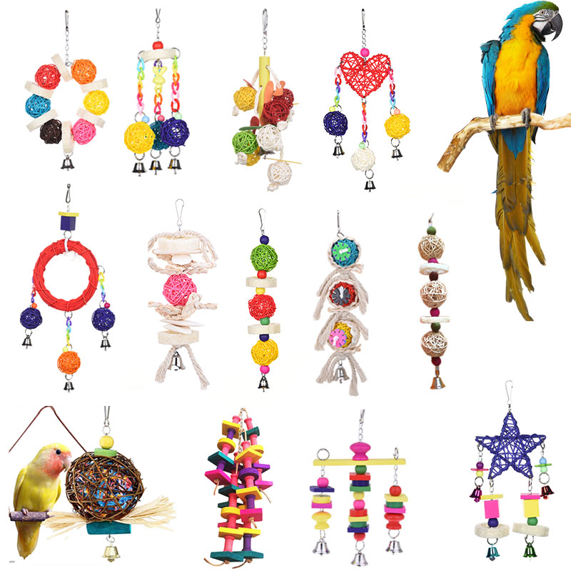 10 Styles Parrot Toys Wood Birds Standing Chewing Rack Toys Bead Ball Heart Star Shape Parrot Toy Bird Toys Accessories Supplies
