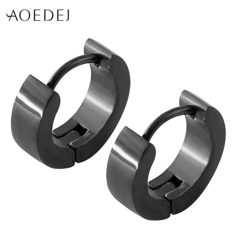 7e43c09ca ... AOEDEJ 19 Style Black Stainless Steel Cartilage Small Hoop Earring for  Men Women Huggie Circle Punk ...