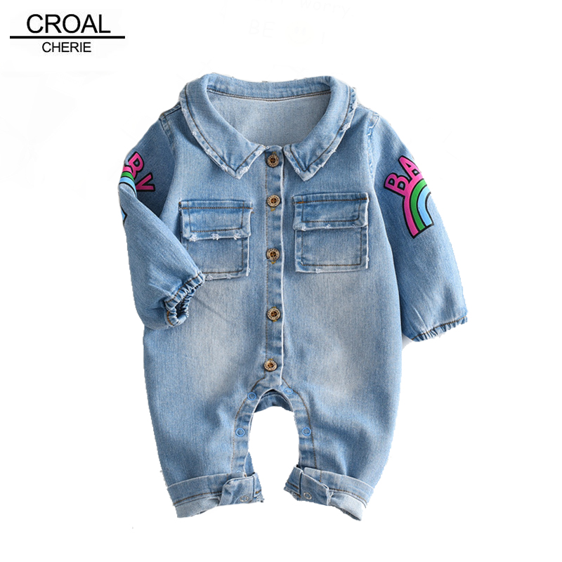 Croal Cherie Kawaii Rainbow Pringting Newborn Baby Clothes Denim Baby Girls Boys Romper Jumpsuit New Born Infant Rompers Jeans puseky 2017 infant romper baby boys girls jumpsuit newborn bebe clothing hooded toddler baby clothes cute panda romper costumes