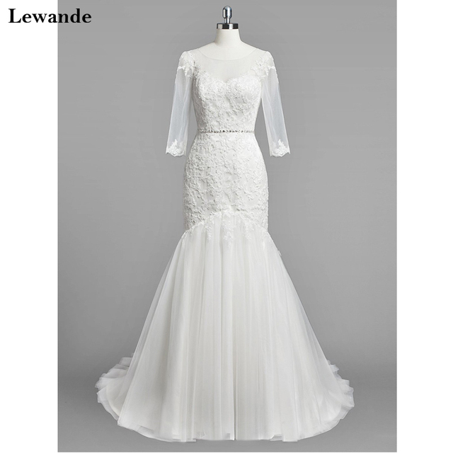 674c47daaa3 Lewande Modest Trumpet Mermaid Scoop Neck Tulle Sweep Train Appliques Lace  3 4 Sleeve Wedding Dresses Beading