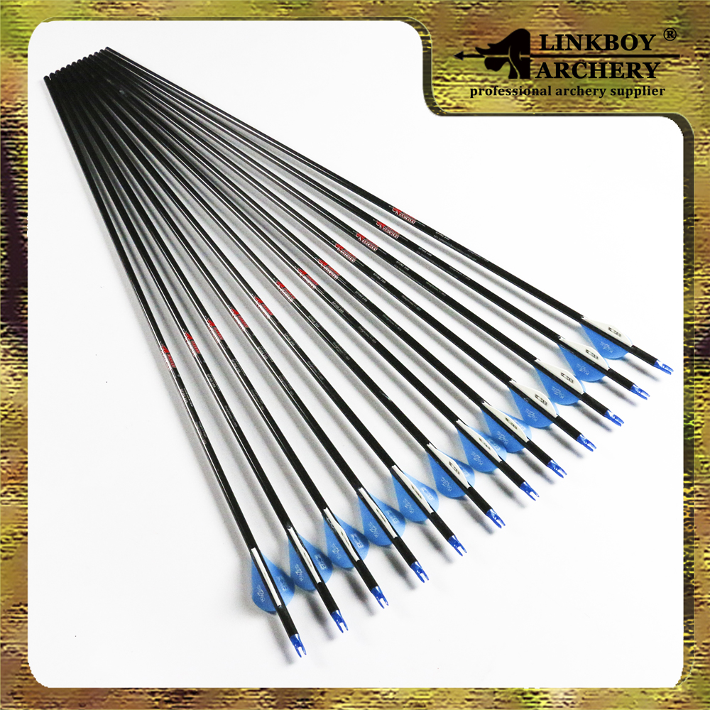 12pcs Archery Pure Carbon Arrows 2 Blazer Vanes 30 Spine 400  for Compound traditional Bow hunting outdoor wholesale archery equipment hunting carbon arrow 31 400 spine for takedown bow targeting 50pcs