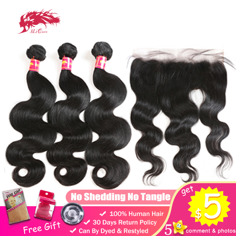 Ali Queen Hair Bundles With Frontal Unprocessed Virgin Brazilian Human Body Wave 13x4 Swiss Lace Closure Ear To Ear Lace Closure