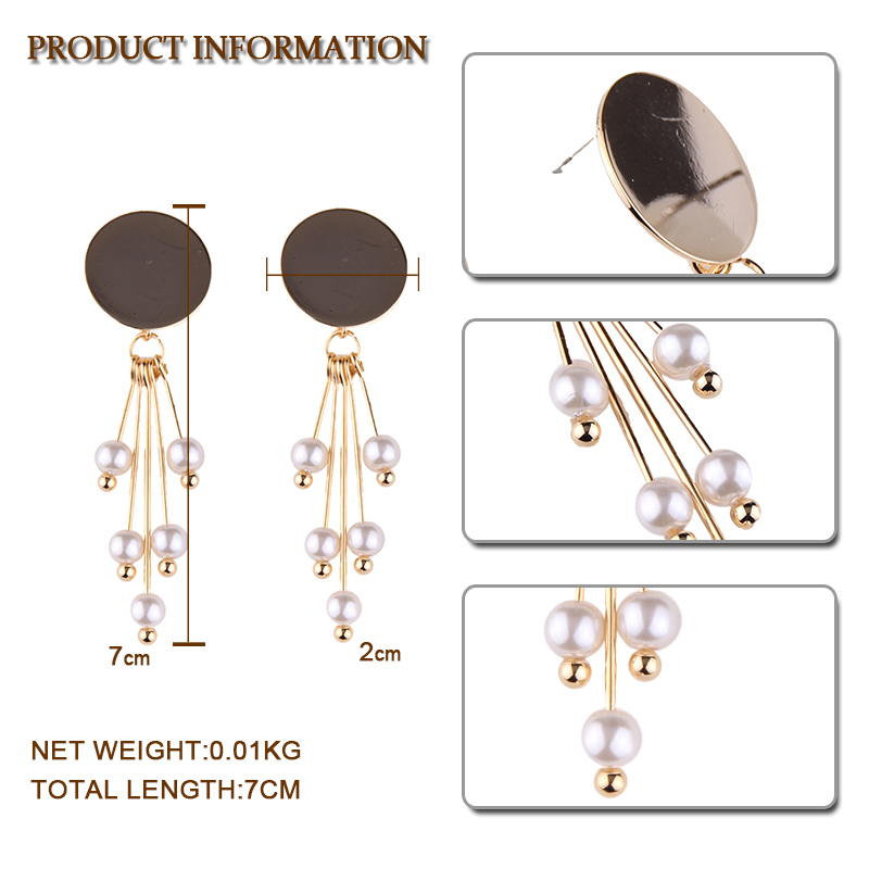 Vedawas 2017 New Fashion Jewelry Imitation Pearl Stud Earrings For Women Vintage Tassel Long Earrings Wholesale 1429