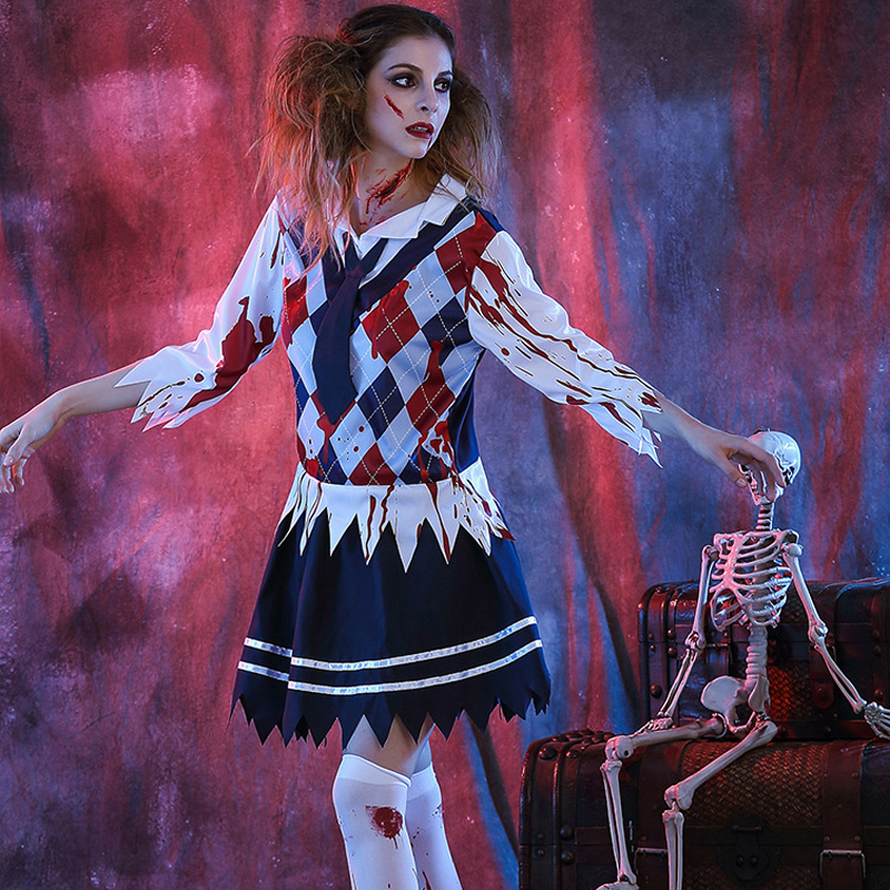 bb176f17243 US $25.74 28% OFF|Gothic Woman Scare Schoolgirl Zombie Halloween Costume  Cosplay Sexy Nightwear Club Party Carnival Horrible Adult Fancy Dress XL-in  ...