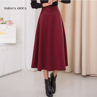 New Fashion Autumn Winter Long Skirt Ladies Elastic Waist A Line Mid Calf Bust Skirts Women