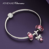 ATHENAIE Rose Red Bowknot Forever Love Pendant Bracelets & Bangles with Faceted Beads Fit European Bracelet Charms Bead