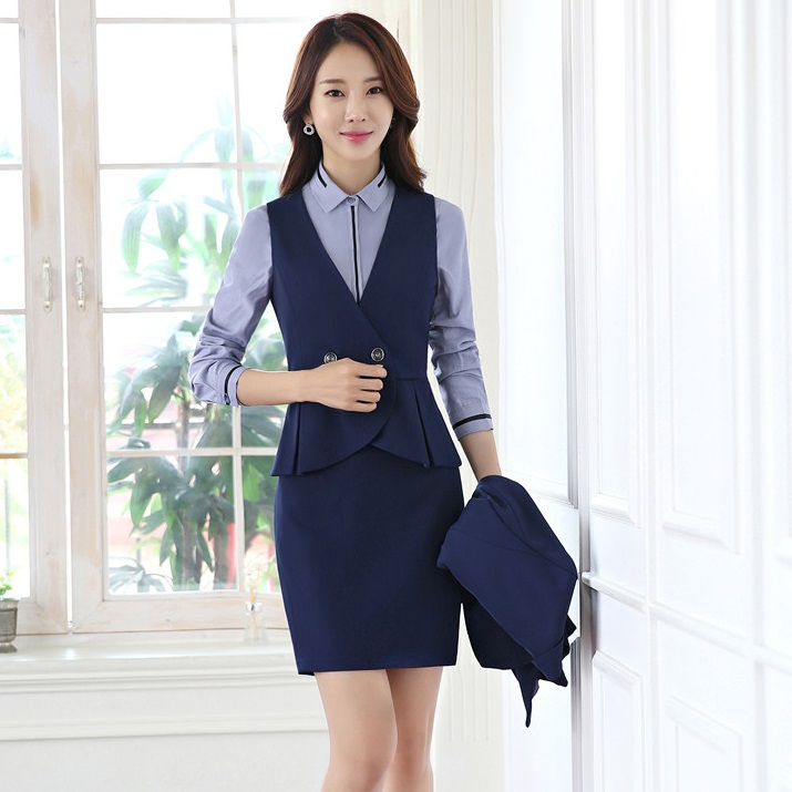 Formal Women Business Suits With Pant And Vest Set Work Wear Ladies Blue Waistcoat Office Uniform Styles Pant Suits
