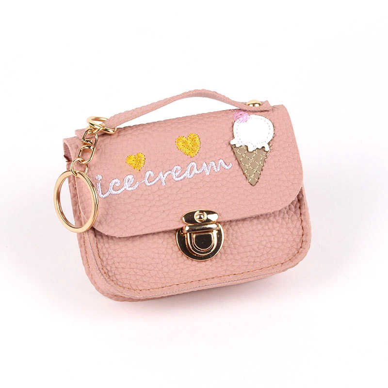 Bonamie S Cute Coin Purse With Ice Cream Embroidery Lock Female Pu Leather Card Holder Change Bag Lady Small Money