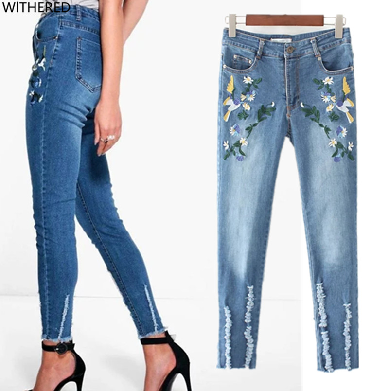 Freeshipping jeans woman jeans woman jeans femme 2017Floral embroidery Personality legs Pencil pants jeans good stretch