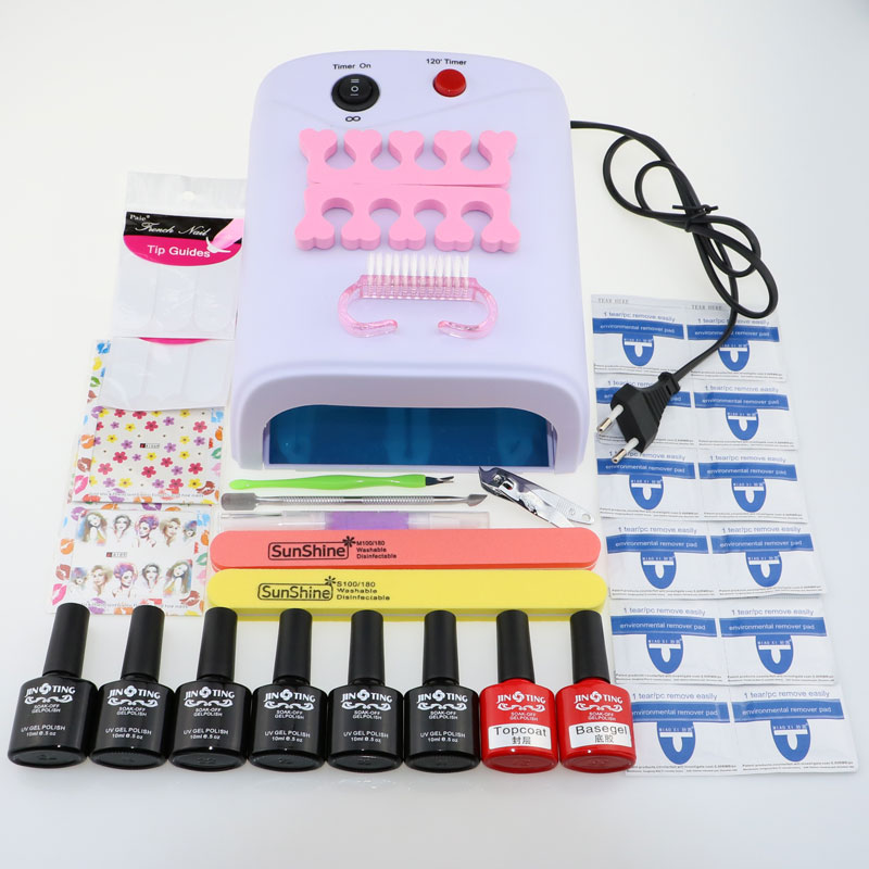 Nail art tools kit set 36W UV Lamp & 6 Color 10ml soak off Gel Polish nail base gel top coat gel polish kit nail Manicure tools pro nail art set manicure tools 36w uv lamp 10 color 7ml soak off gel nail base gel top coat polish remover false nail tips kit