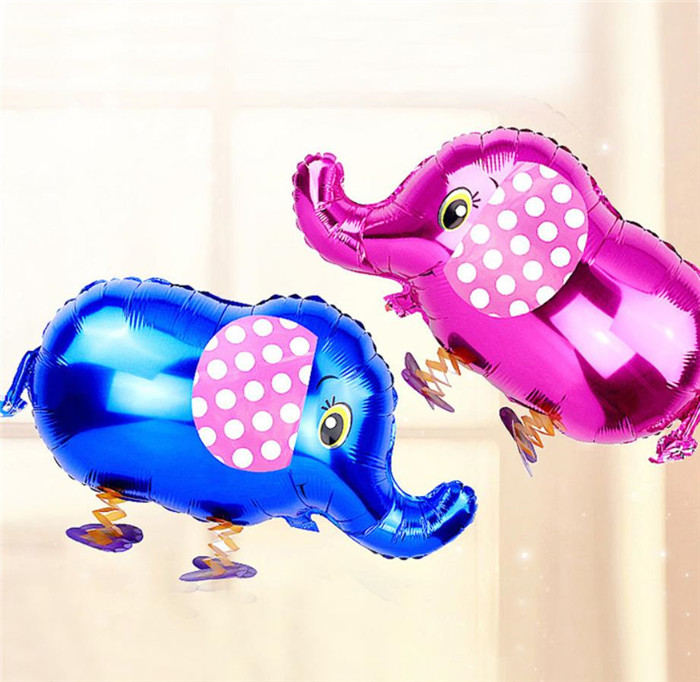 Cartoon Hat Cute Cartoon Animals Pet Walking Elephant Foil Aluminum Balloon Inflatable Air Balloons Birthday Party Decoration