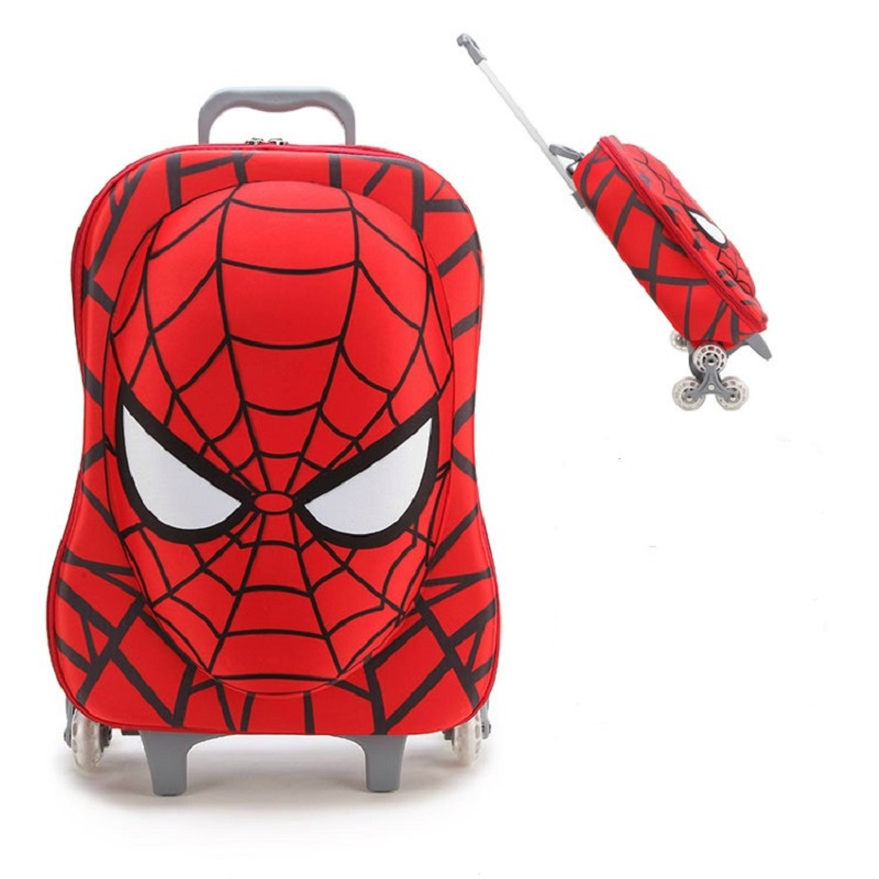 Brand 3D Extrusion EVA 16 Inches Child Cartoon Boy Luggage Kids Car Climb Stairs Suitcase Travel Spiderman Children Trolley Case