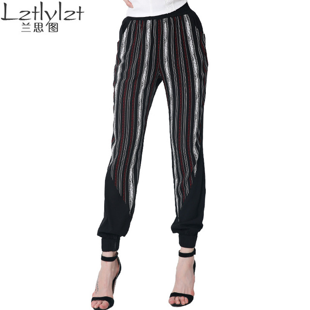 d8353f14476 Lztlylzt Brand Plus Size 2016 Women Casual Loose Harem Pants High Waisted  Stripe Patchwork Full Length